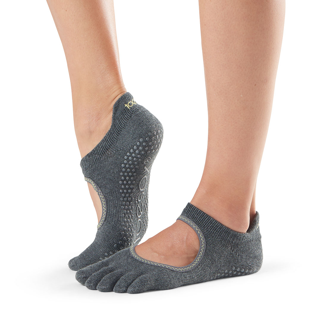 Yogasocken ToeSox Bellarina Full Toe Charcoal Grey w/lime