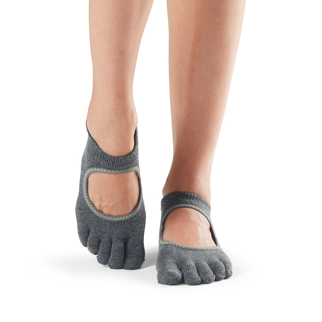 Yogasocken ToeSox Bellarina Full Toe Charcoal Grey w/lime - 1