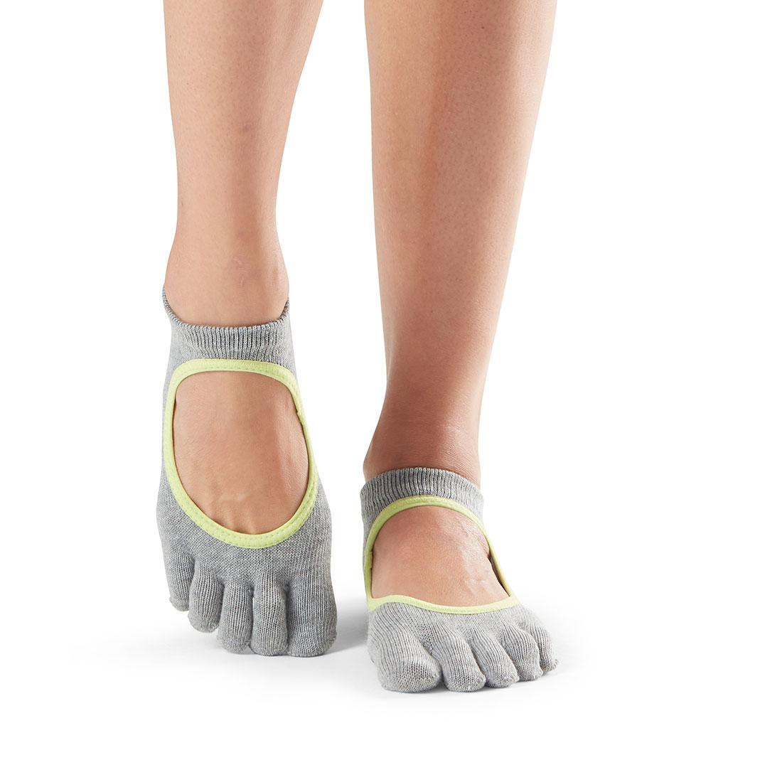 Yogasocken ToeSox Bellarina Full Toe Heather Grey with Lime Trim - 1