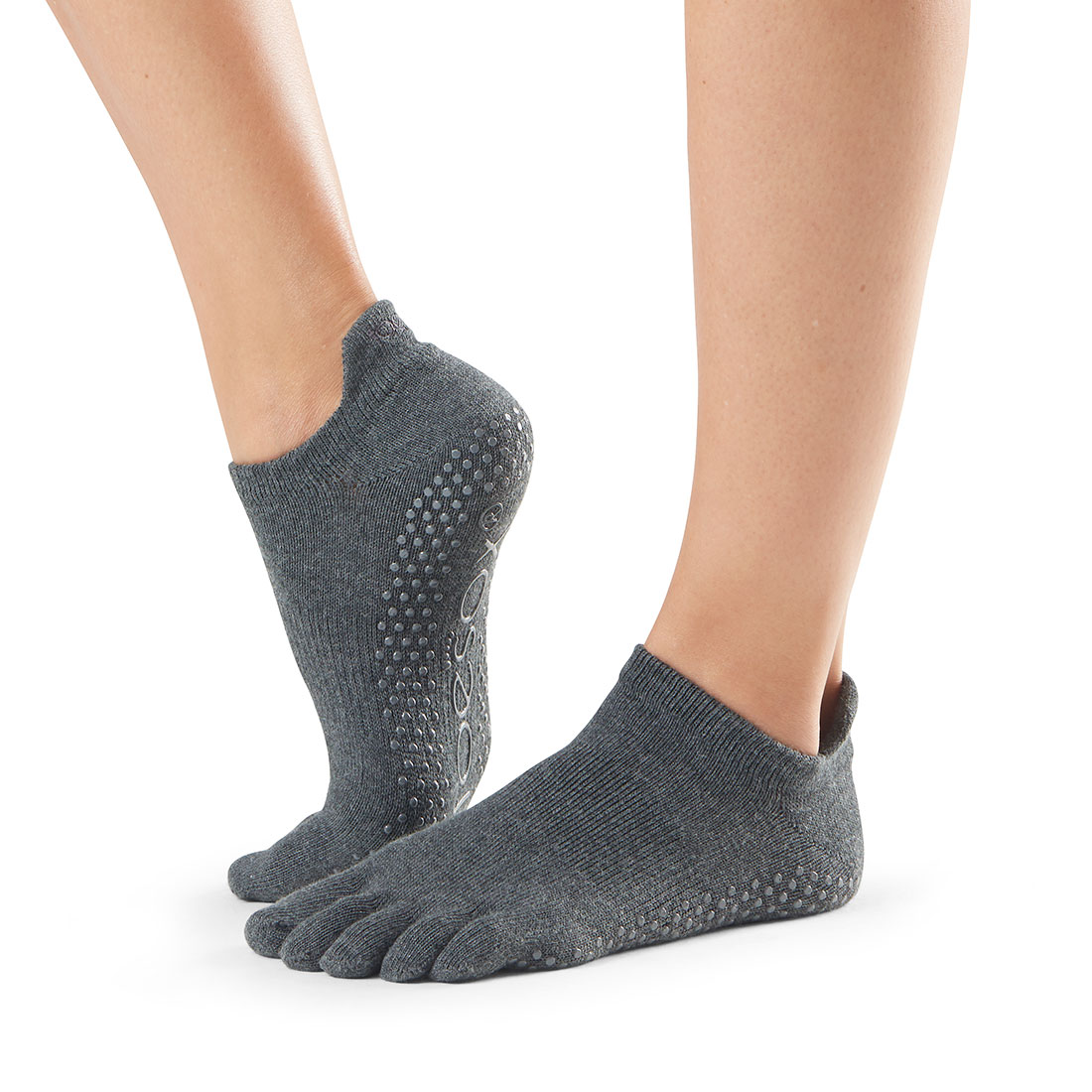 Yogasocken ToeSox Low Rise Full Toe Charcoal Grey