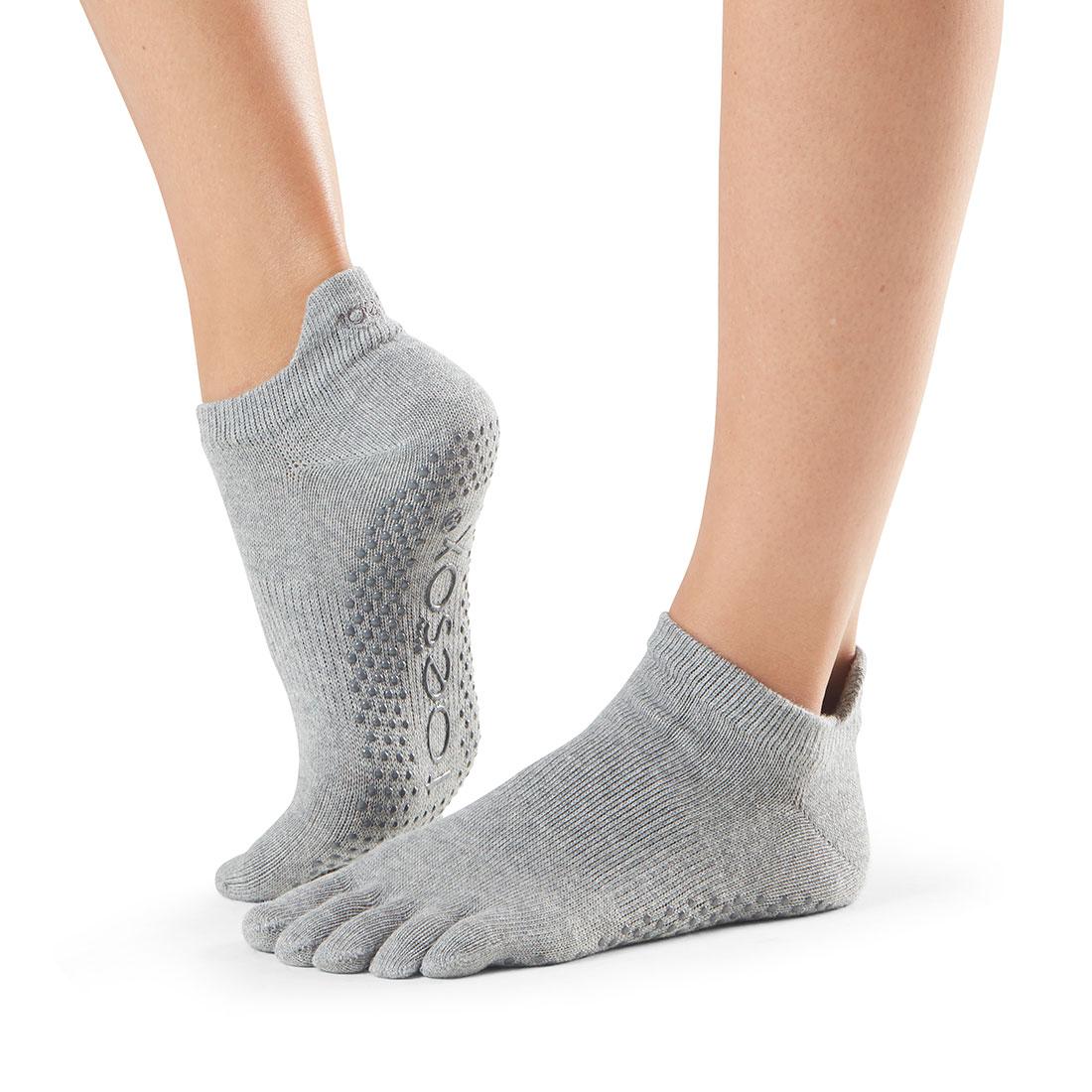Yogasocken ToeSox Low Rise Full Toe Heather Grey