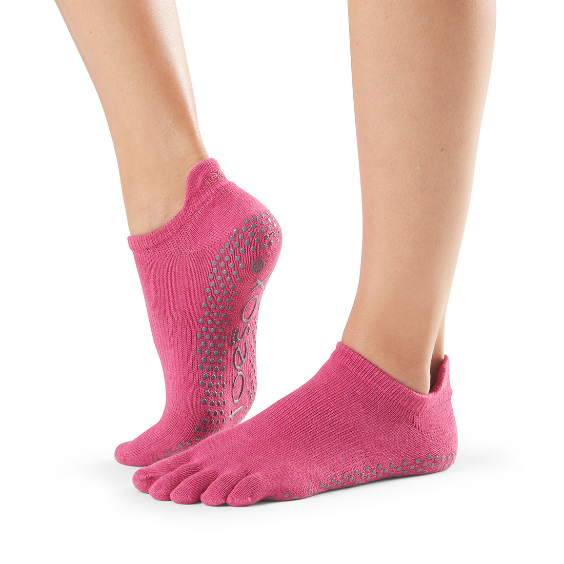 Yogasocken ToeSox Low Rise Full Toe Raspberry - 1