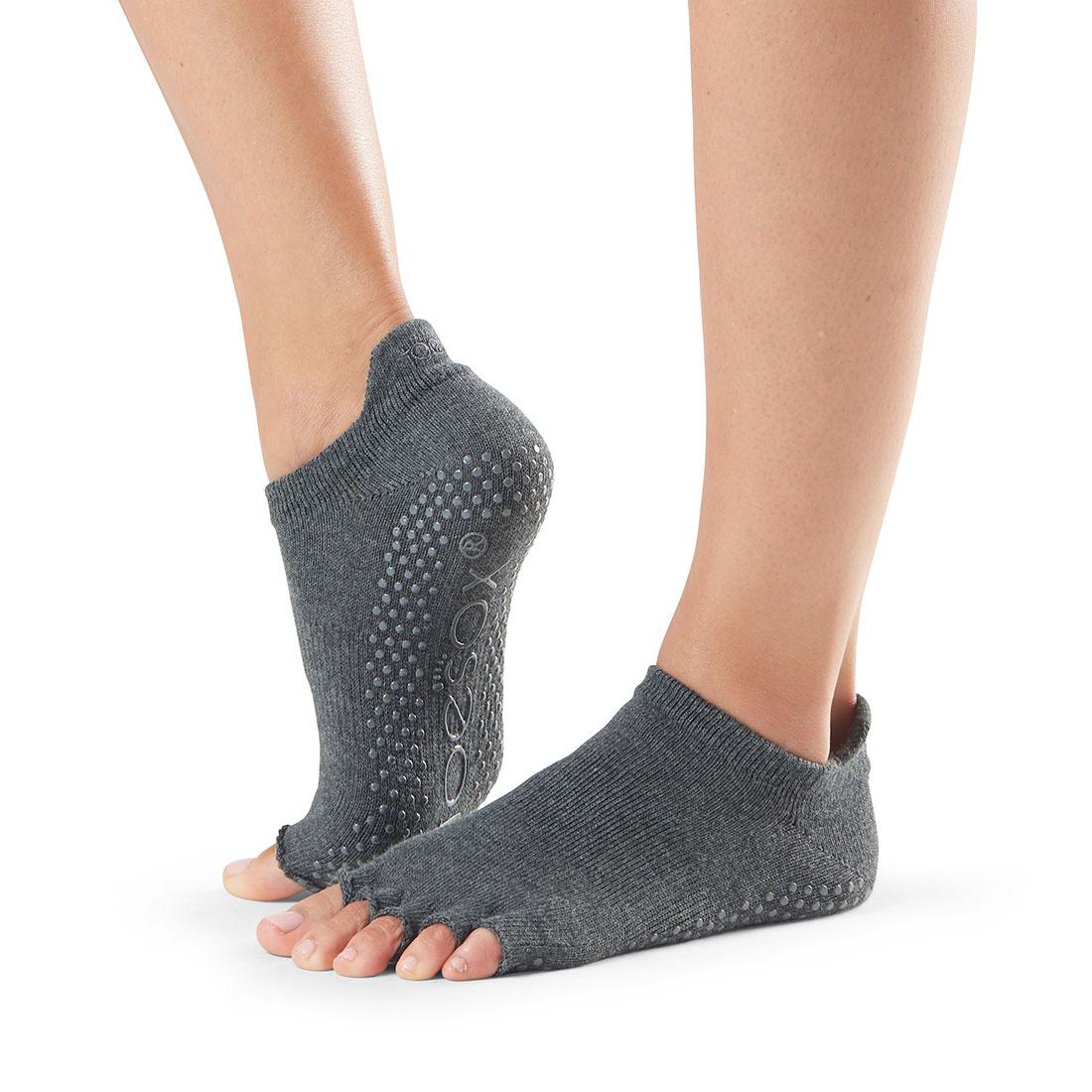 Yogasocken ToeSox Low Rise Half Toe Charcoal Grey