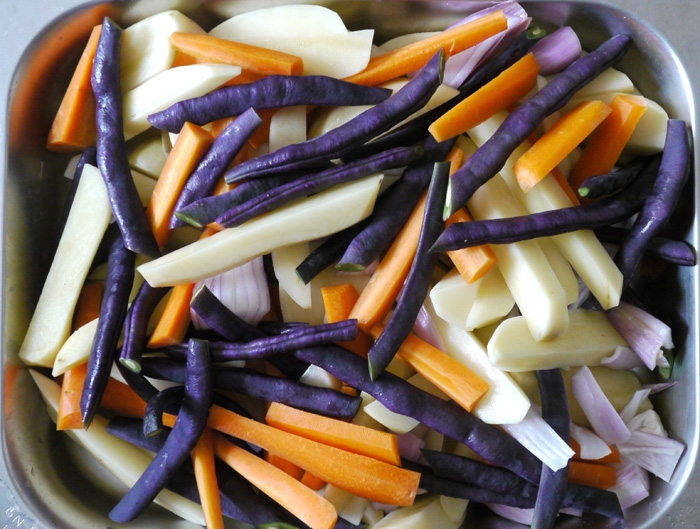 Gemüseallerlei mit Schinkencroutons