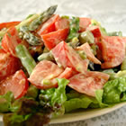 Tomato Asparagus Salad with Low Fat Cheese-Yogurt Dressing