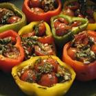Garlic, Basil and Tomato Stuffed Peppers
