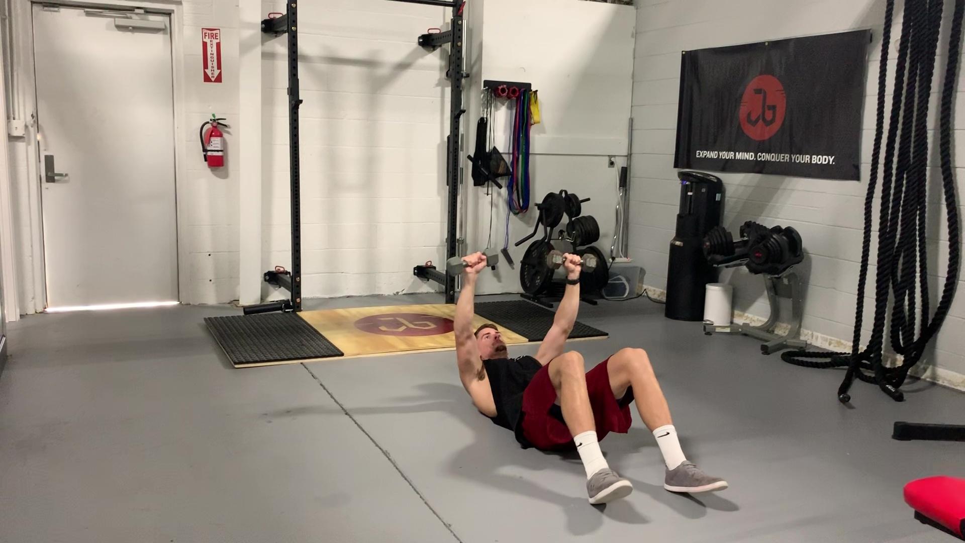 DB Floor Press to Sit-up