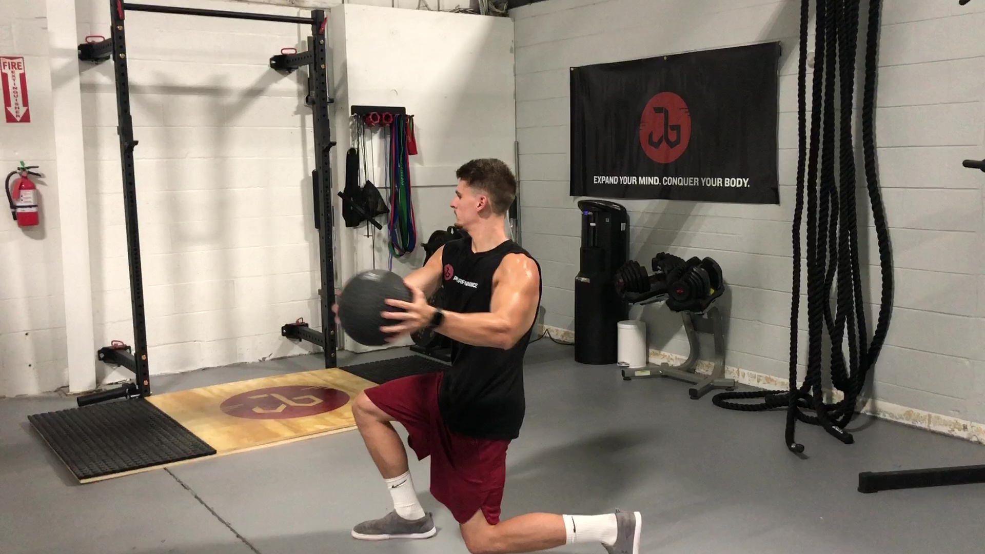 MB Alternating Lunge with Rotation