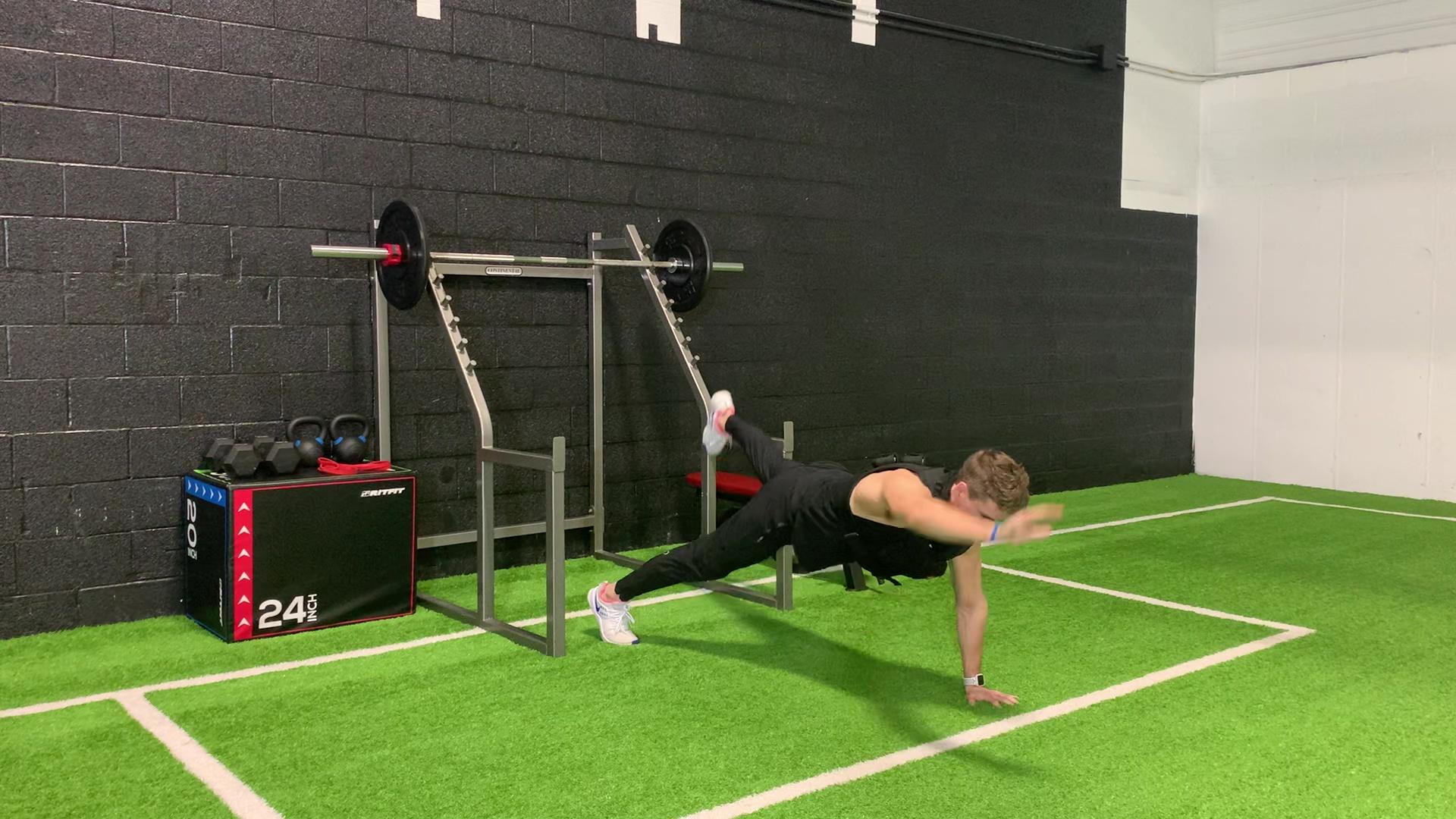 Push-up to Opposite Arm Opposite Leg Raise