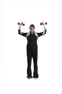 Elevación de mancuernas con los hombros