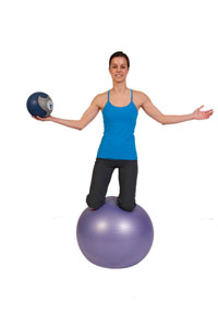 Exercise Ball Core Stability and Balance with Medicine Ball