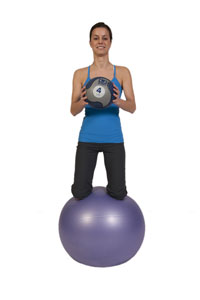 Medicine Ball Push-Out on Exercise Ball