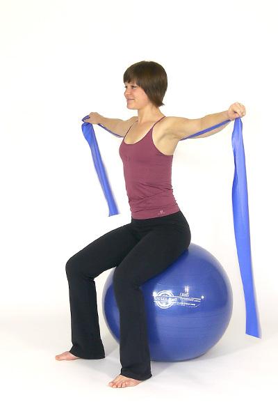 Flexión horizontal de hombro con brazo recto con banda de ej