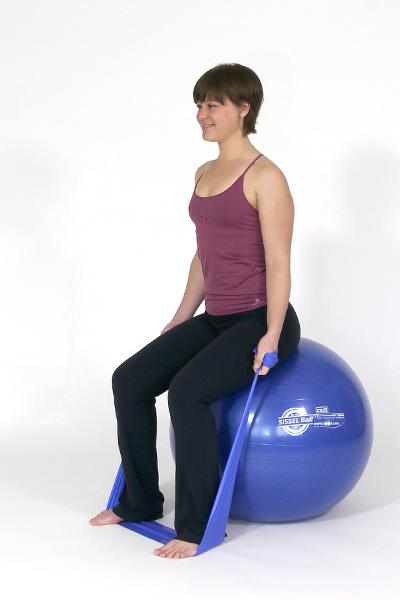 Ejercicio de Biceps con banda de ejercicios.