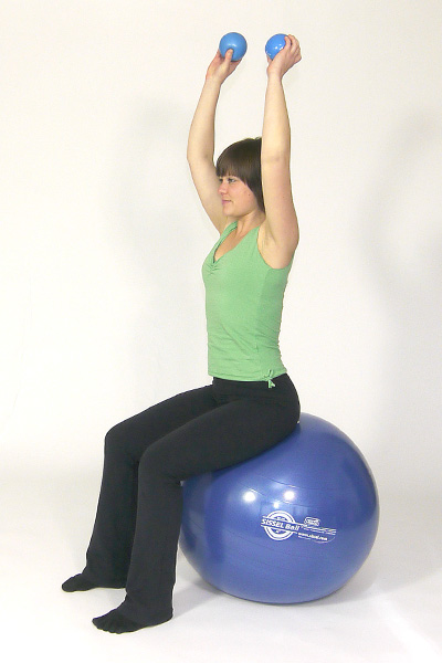 Toning Ball Overhead Triceps Press on the Exercise Ball