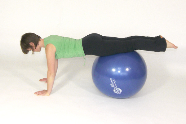 Pushups with Thighs on the Exercise Ball