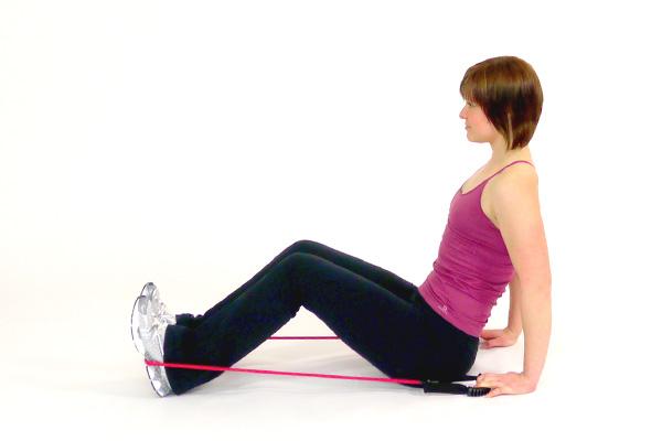 Extensiones de rodilla con banda de ejercicio
